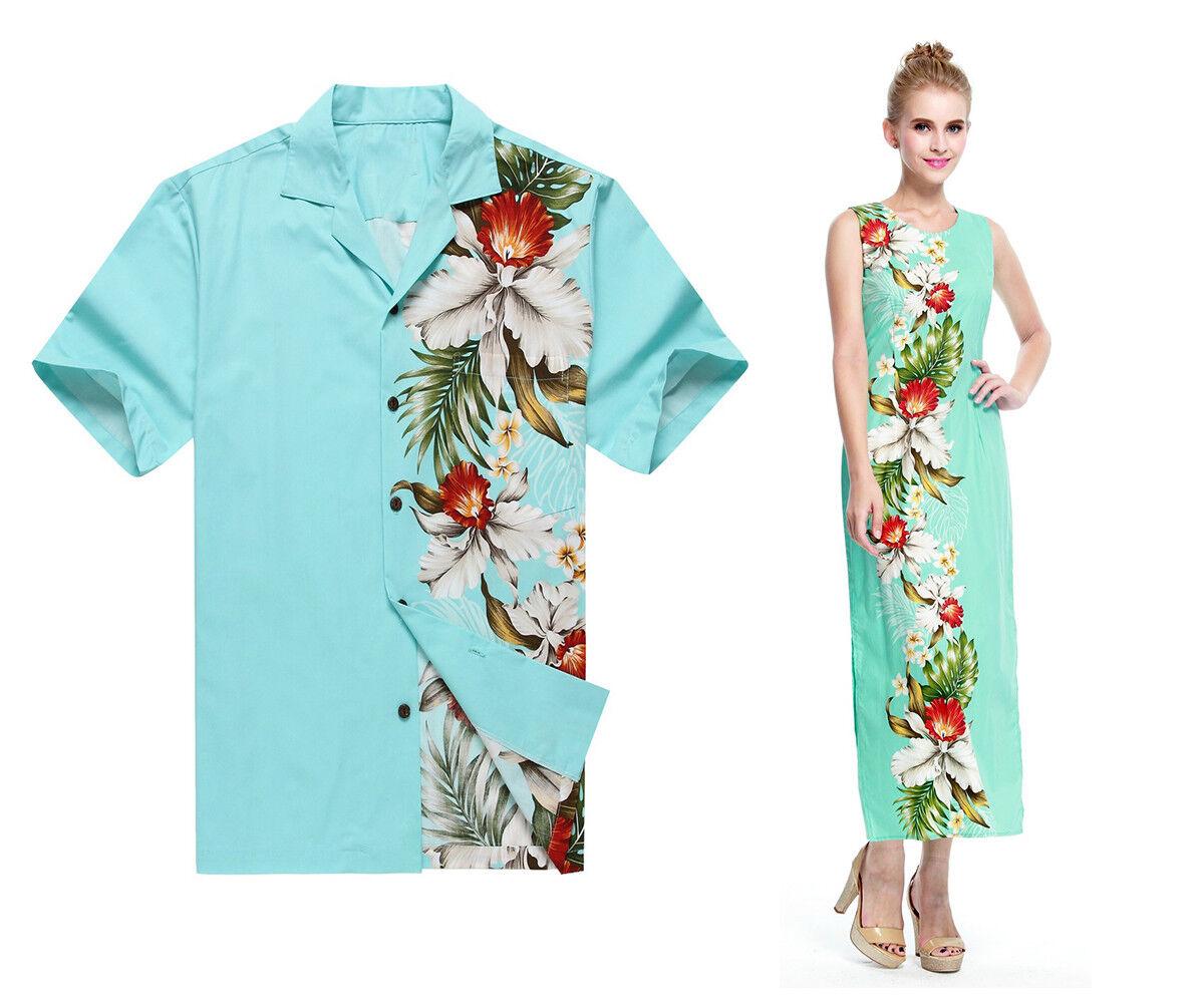 Made Hawaii Couple Matching Luau Elegant Muumuu Dress Shirt White ...