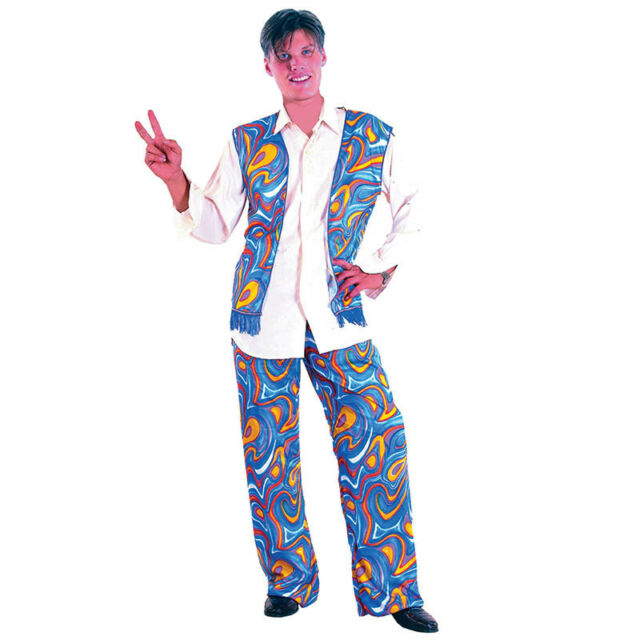 HIPPY MAN ADULT #1970s ONE SIZE COSTUME FOR FANCY DRESS FLOWER POWER#