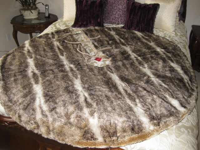 POTTERY BARN FAUX FUR TREE SKIRT CARAMEL OMBRE CHRISTMAS NWT