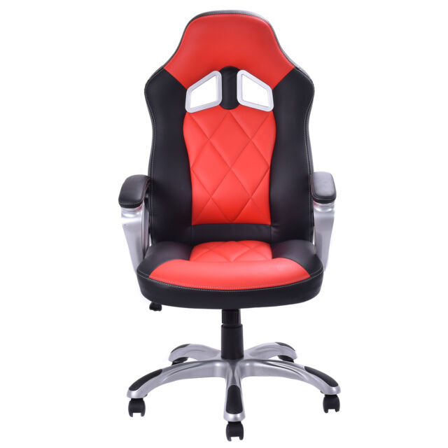 Charmant Red High Back Racing Bucket Seat Gaming Chair Seat Swivel Home Office Desk  Task