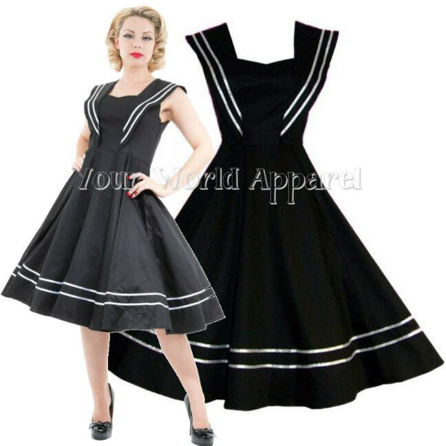 Hr London Black Sailor Cocktail Dress Pinup Swing 1950s Nautical