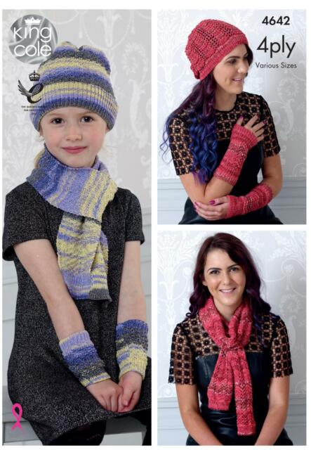 King Cole 4642 Knitting Pattern Hats Scarves & Wristwarmers in Party Glitz 4 Ply