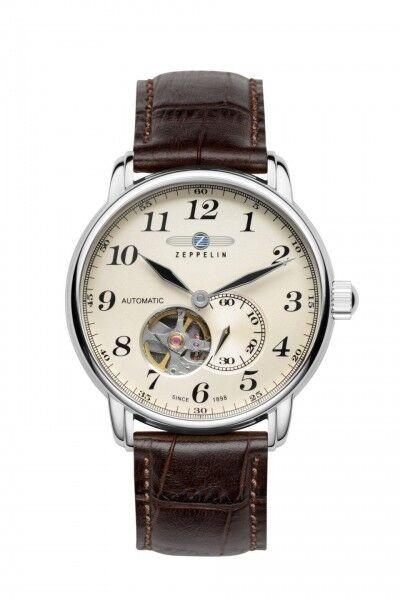 Zeppelin Herrenuhr Uhr Automatik offenes Herz Leder Braun Armbanduhr 7666-5