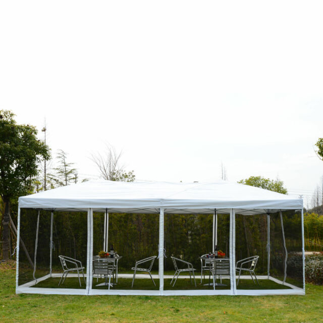 Outsunny 10u0027 x 20u0027 Outdoor Pop Up Party Tent Canopy Gazebo Mesh Side Walls  sc 1 st  eBay & Outsunny 10 X 20 Pop-up Canopy Shelter Party Tent With Mesh Walls ...