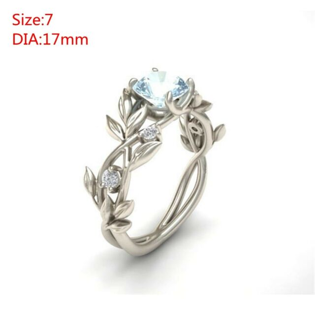 Women Floral Leaves Aquamarine Elegant Engagement Bride Wedding Ring