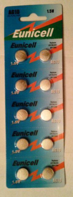 Eunicell 10 Piles AG10 LR54  D389 D39 SR1131 SR54 S09 SR1130SW
