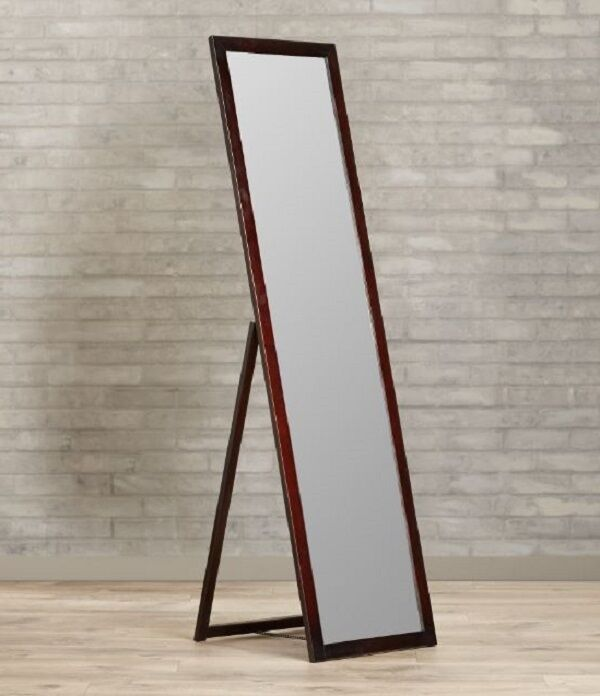 picture 1 of 4 - Wood Frame Full Length Mirror