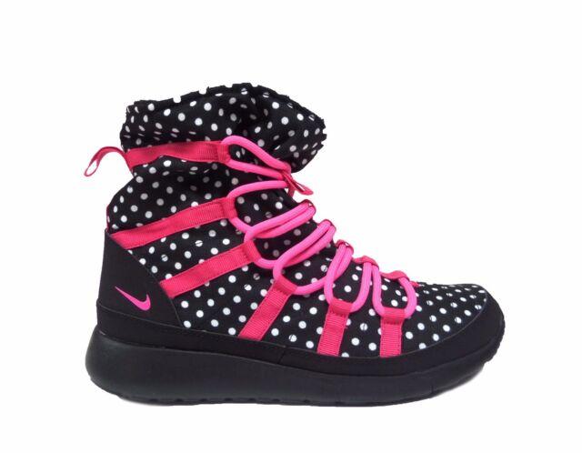 Nike Girl's Grade School ROSHE ONE HI PRINT Sneakerboots Black/Pink  807744-001 a