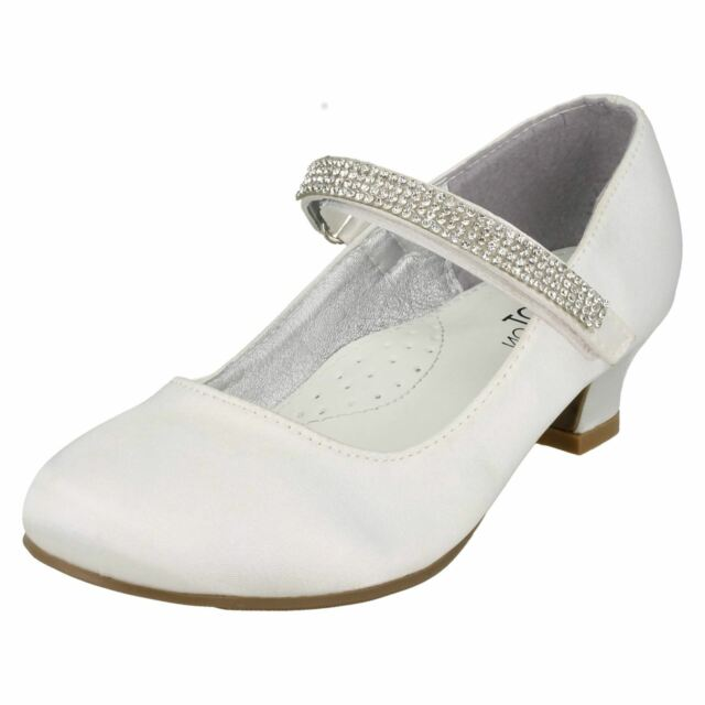 Girls Spot On Diamante Detail Mid Heel Bridesmaid Shoes Style H3066