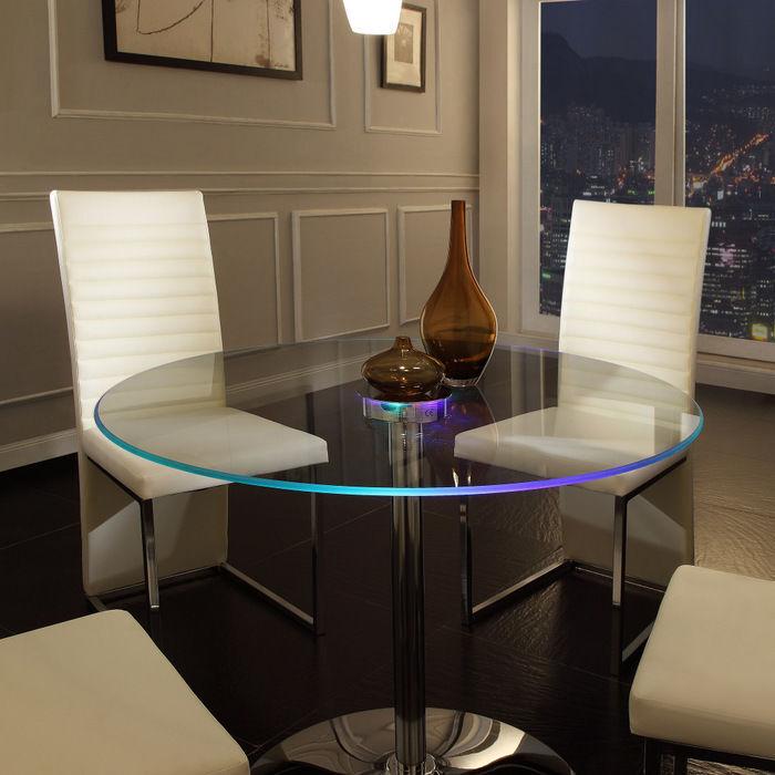 glass kitchen table sets. LED Dining Table Round Large Glass Modern Lights Living Kitchen Room  Furniture Sets eBay