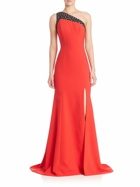 Wtag Theia Asymmetrical Crepe Dress Gown Formal Cocktail Red Size 6