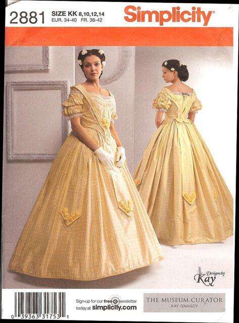 Civil War Ball Gown Simplicity 2881 KK Pattern Size 8 14 | eBay