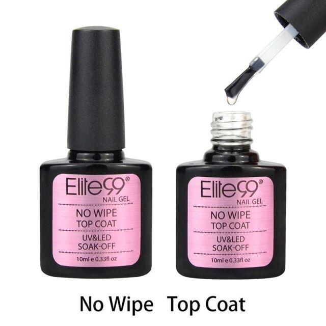 Elite99 Top Coat 10ml No Wipe Nail GEL Primer Polish Soak off UV LED ...