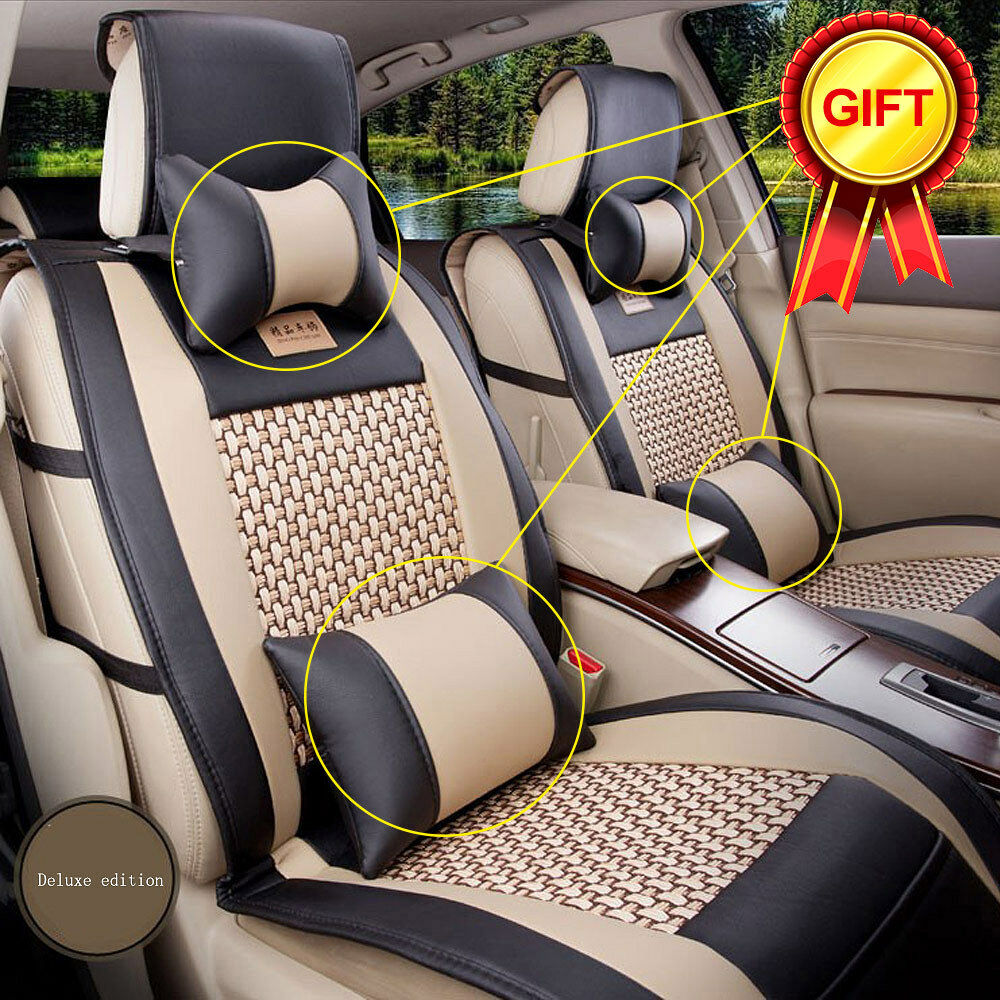 US PU Leather Cooling Mesh Full Car Seat Cover 5-seats Front Rear ...