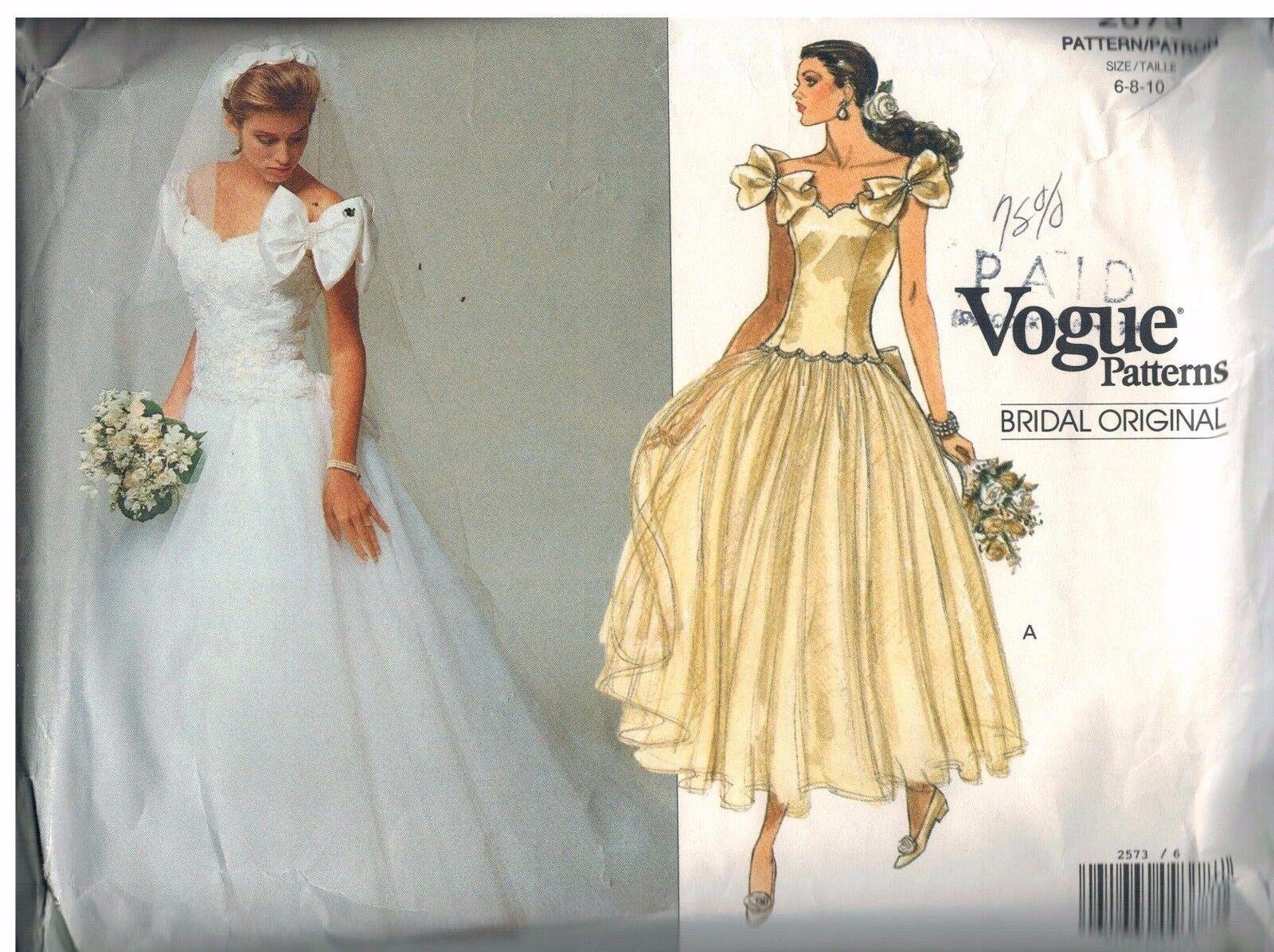 2573 Uncut Vogue Sewing Pattern Misses Bridal Gown Dress Petticoat ...