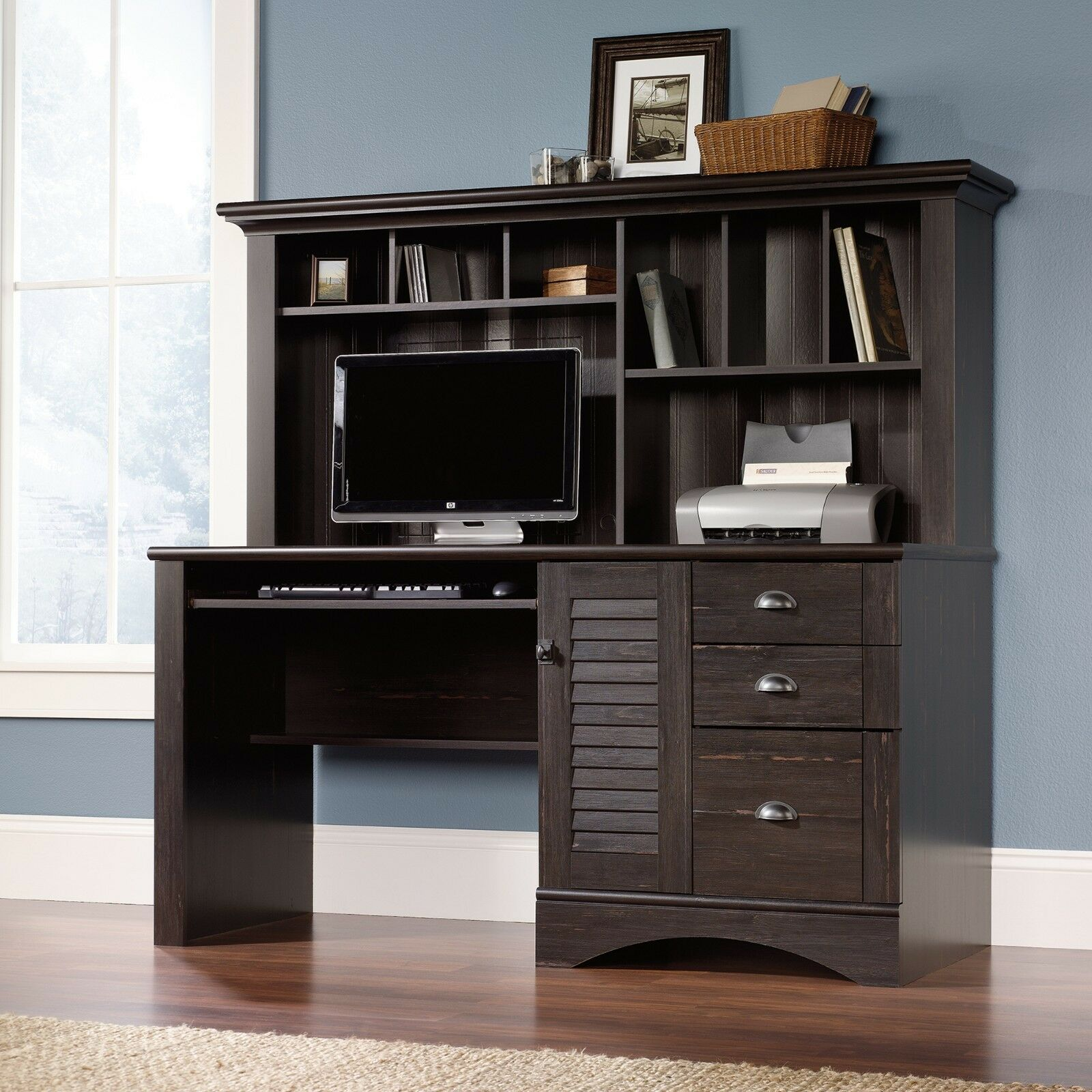 Item 4 Computer Desk With Hutch Antiqued Paint Harbor View Collection 401634