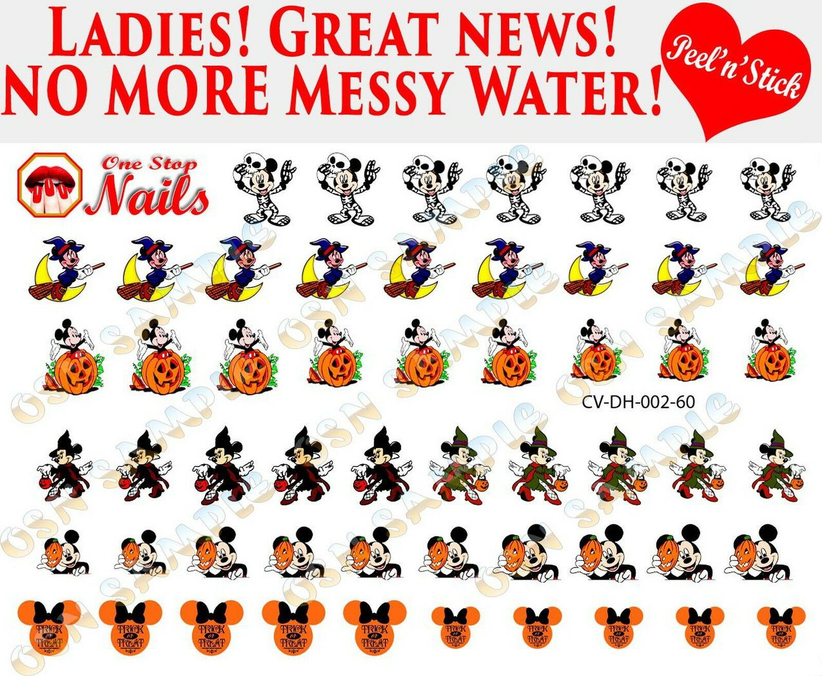 Disney Halloween Clear Vinyl Peel and Stick Nail Decals Not ...