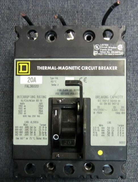 Square D FAL34020 480 V 20 Amp Circuit Breaker | eBay