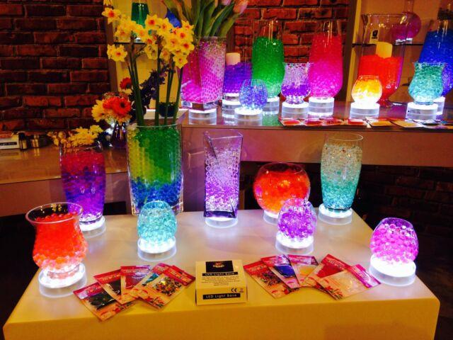 ROUND LED WHITE LIGHT BASE WITH 15 WHITE LIGHTS VASE UPLIGHTER TABLE CENTREPIECE
