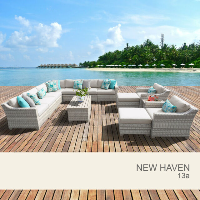 New Haven 13 Piece Outdoor Wicker Patio Furniture Set 13a