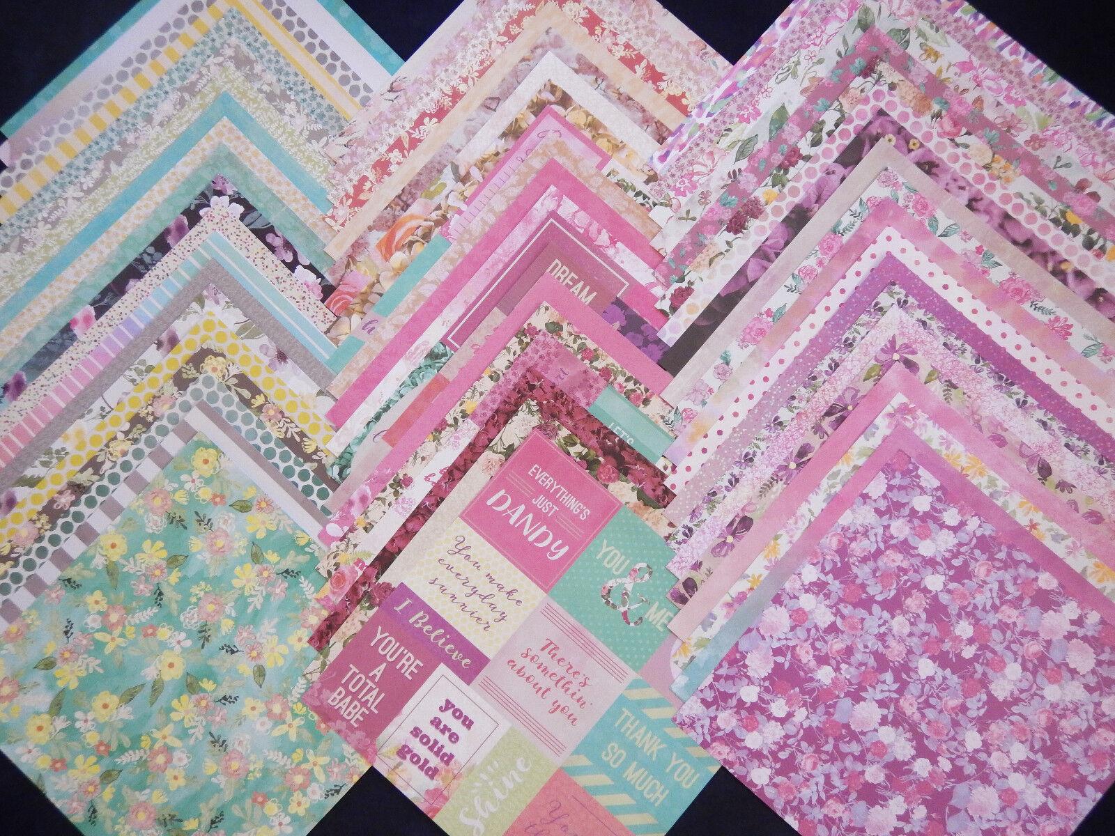 12x12 Scrapbook Paper Wild Flower Floral Garden Mom Spring 60 Lot