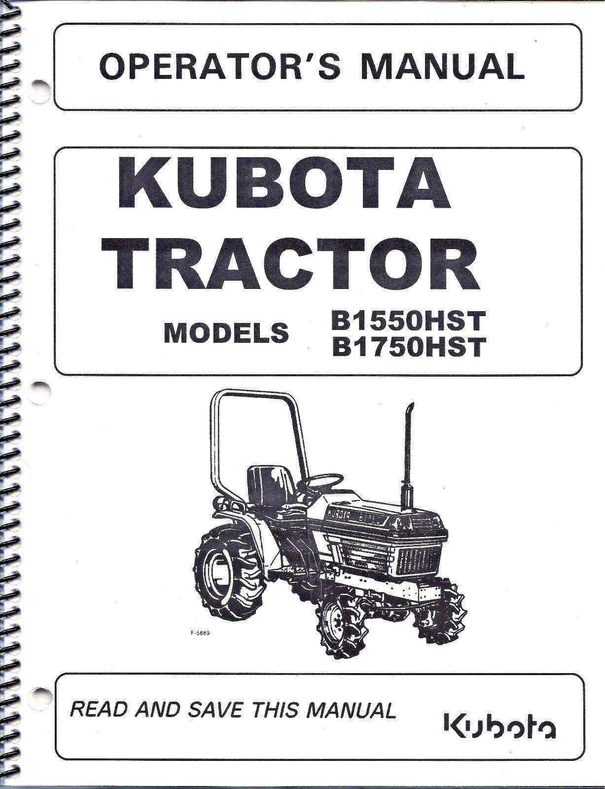 Kubota B1550 Schematic Trusted Wiring Diagram B6200 B1750hst Tractor Operator Manual Ebay Rh Com Deck Parts 54