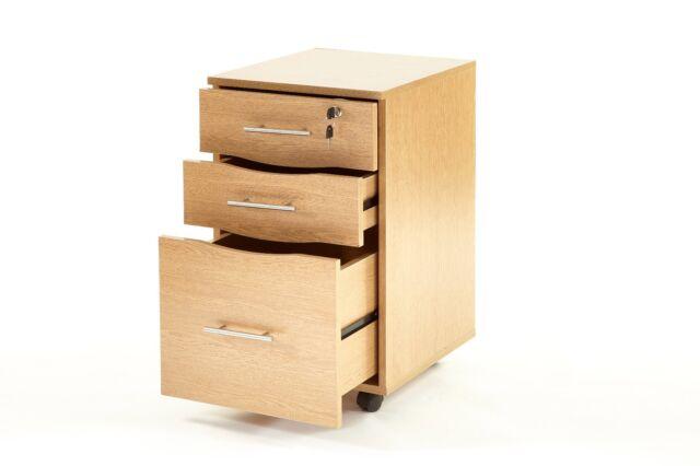 3 Drawers Lockable Filing Pedestal Office Furniture Under Desk Storage Unit