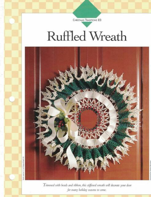 Ruffled Wreath Crochet Single Pattern Vanna White Christmas Door Or