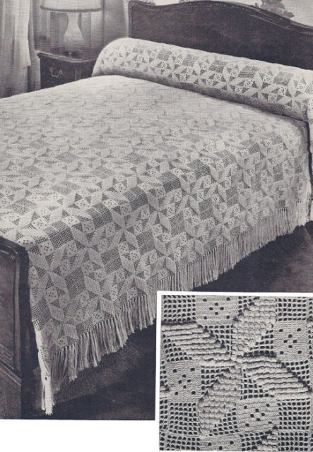 Vintage Crochet Bedspread Pattern Motif Block Popcorn | eBay