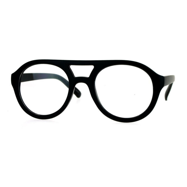 Super Retro Eyeglasses Clear Lens Flat Top Round Double Bridge Frame ...