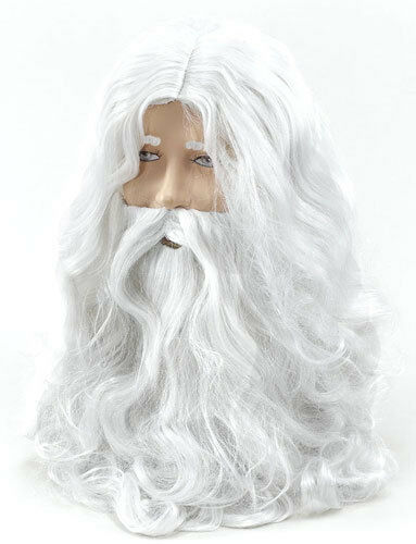 Deluxe Santa Fancy Dress Costume White Wizard Wig and Beard Christmas Halloween