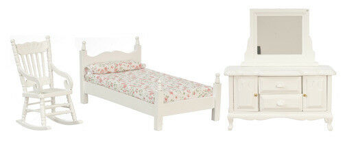Amazing Dollhouse Furniture Town Square Miniature 3pc Bedroom Set In White #T0529