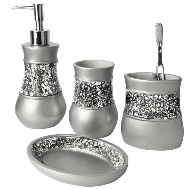 Creative Scents Brushed Nickel Bathroom Accessories Set, 4 Piece Bath  Ensemble,