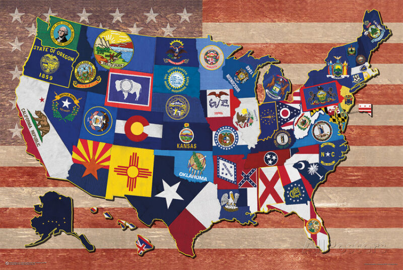 State Flag Map Of The US Art Print Poster X EBay - Us state flag map