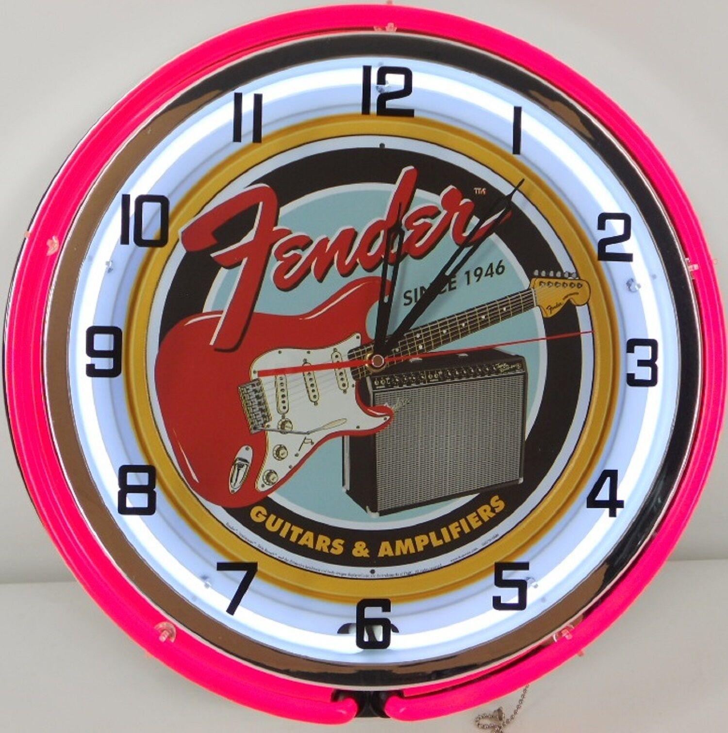18 vintage fender guitar metal sign dbl neon wall clock amplifier picture 1 of 2 amipublicfo Images