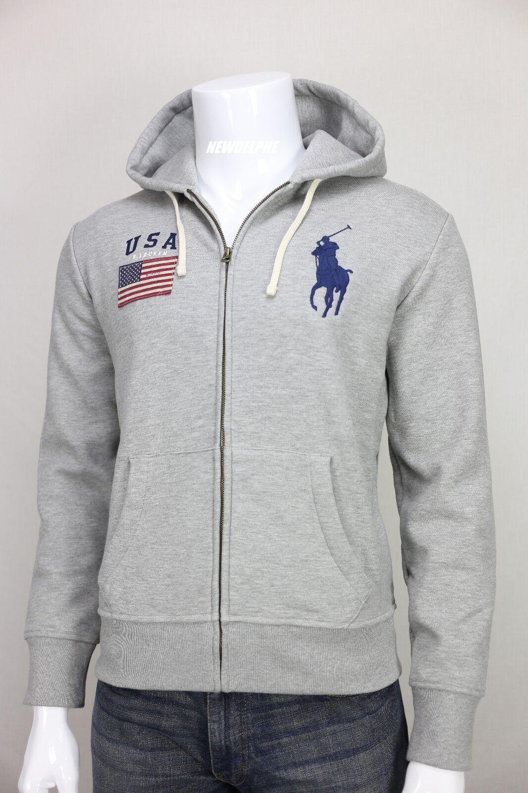 Polo Ralph Lauren Navy USA Flag Big Pony Full Zip Hoodie Jacket Small | eBay