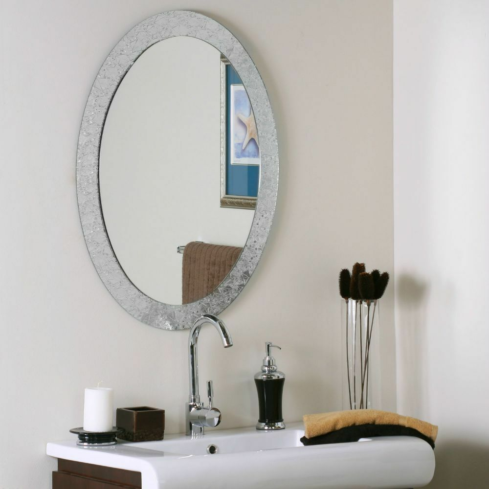 Crystal Wall Mirror Glam Chic Silver Oval Frameless Vanity ...