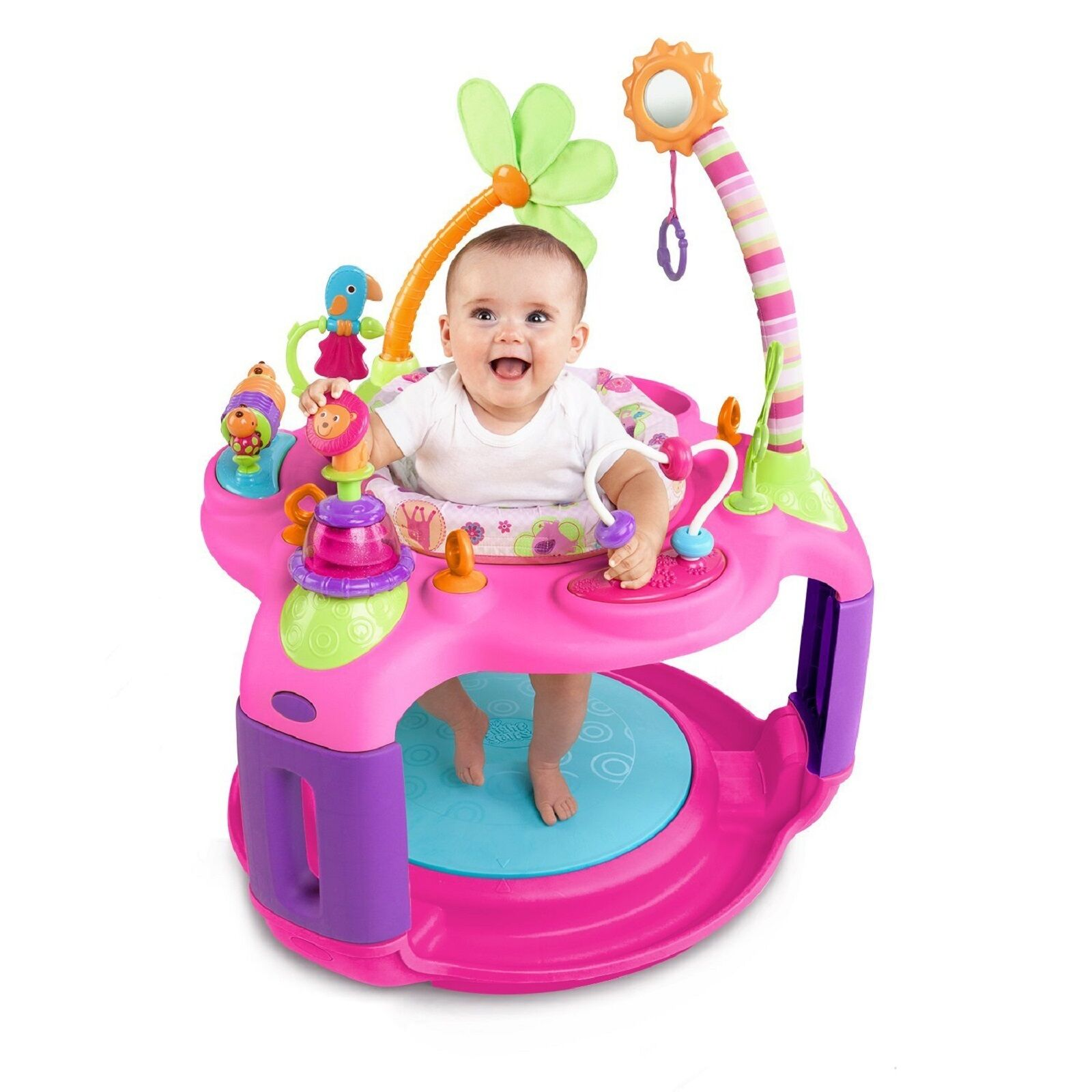 Bright Starts Bouncer Activity Center Sweet Pink Safari Baby