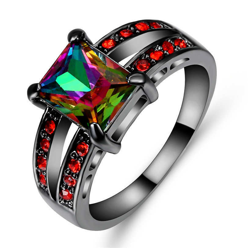 18k Black Gold Filled Jewelry Rainbow Topazred Engagement Ring
