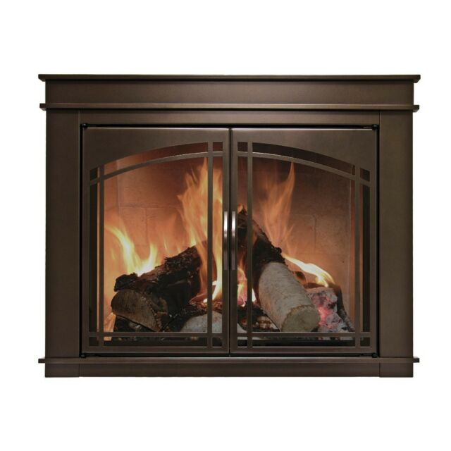 Pleasant Hearth Glass Fireplace Door Fenwick Bronze Iron With Hard