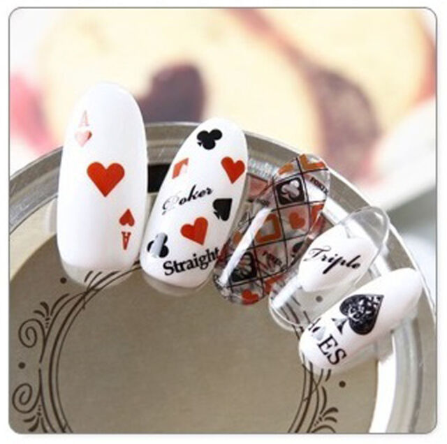 Poker Aces Black & Red Water Transfers Nail Art Stickers Decals UV ...