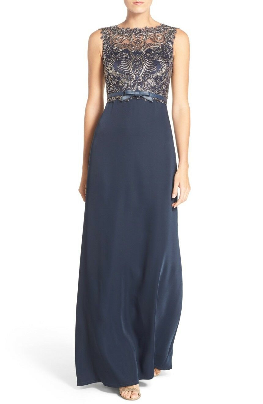 Tadashi Shoji \'gavin\' Embroidered Bodice Gown Dress Train Navy Gold ...