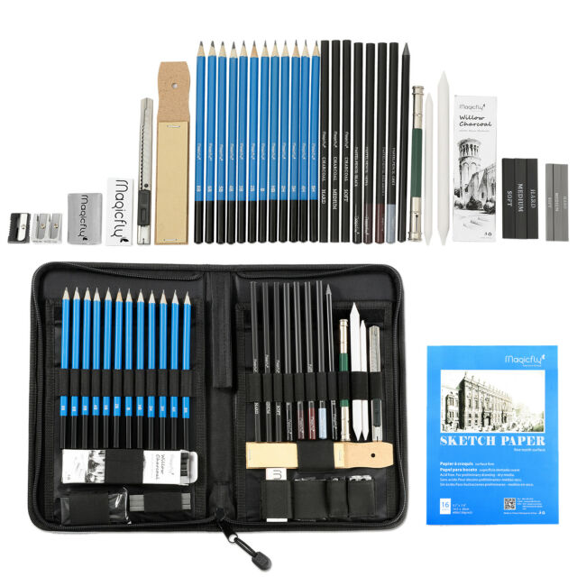 41pc professional drawing artist kit set pencils and sketch