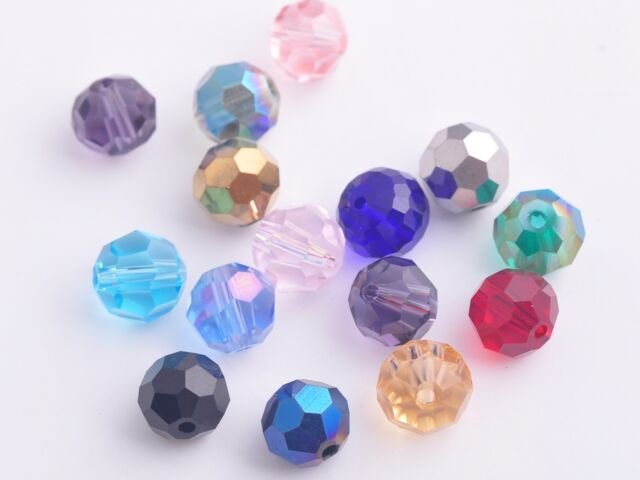 100x Round Faceted 6mm Crystal Glass Charms Loose Spacer Beads Mixed Colors Lots
