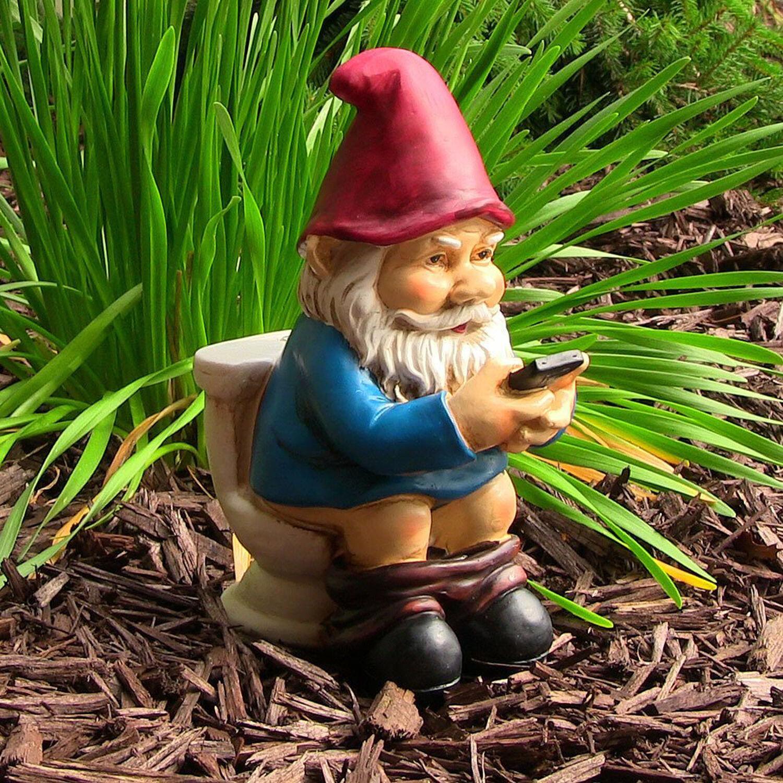 Garden Gnome Statue Reading Phone Yard Lawn Outdoor Decor Art Patio ...