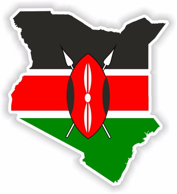 Kenya map flag sticker for bumper skateboard helmet door boat bike car motorhome