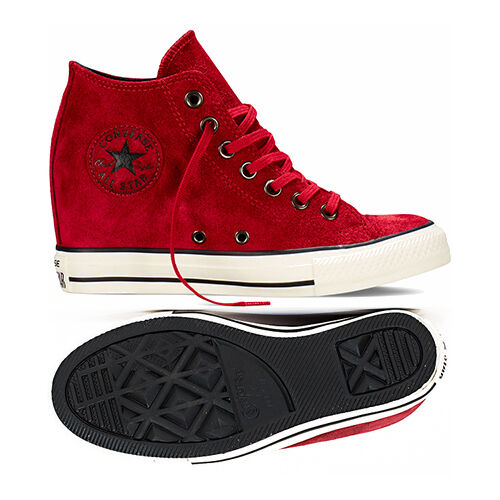 Converse Chuck Taylor All Star Lux Wedge Mid Women's Shoes Red Dahlia Suede  5 | eBay