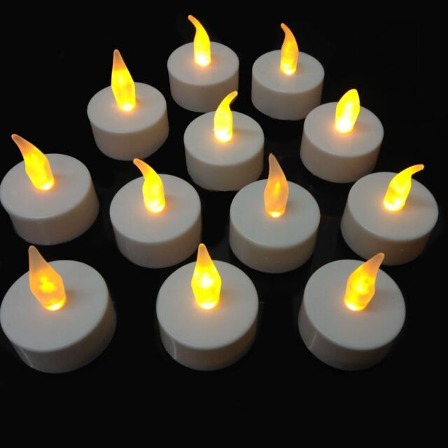 New Flickering Flameless Led Tea Lights Candles Tealights Batteries Operated