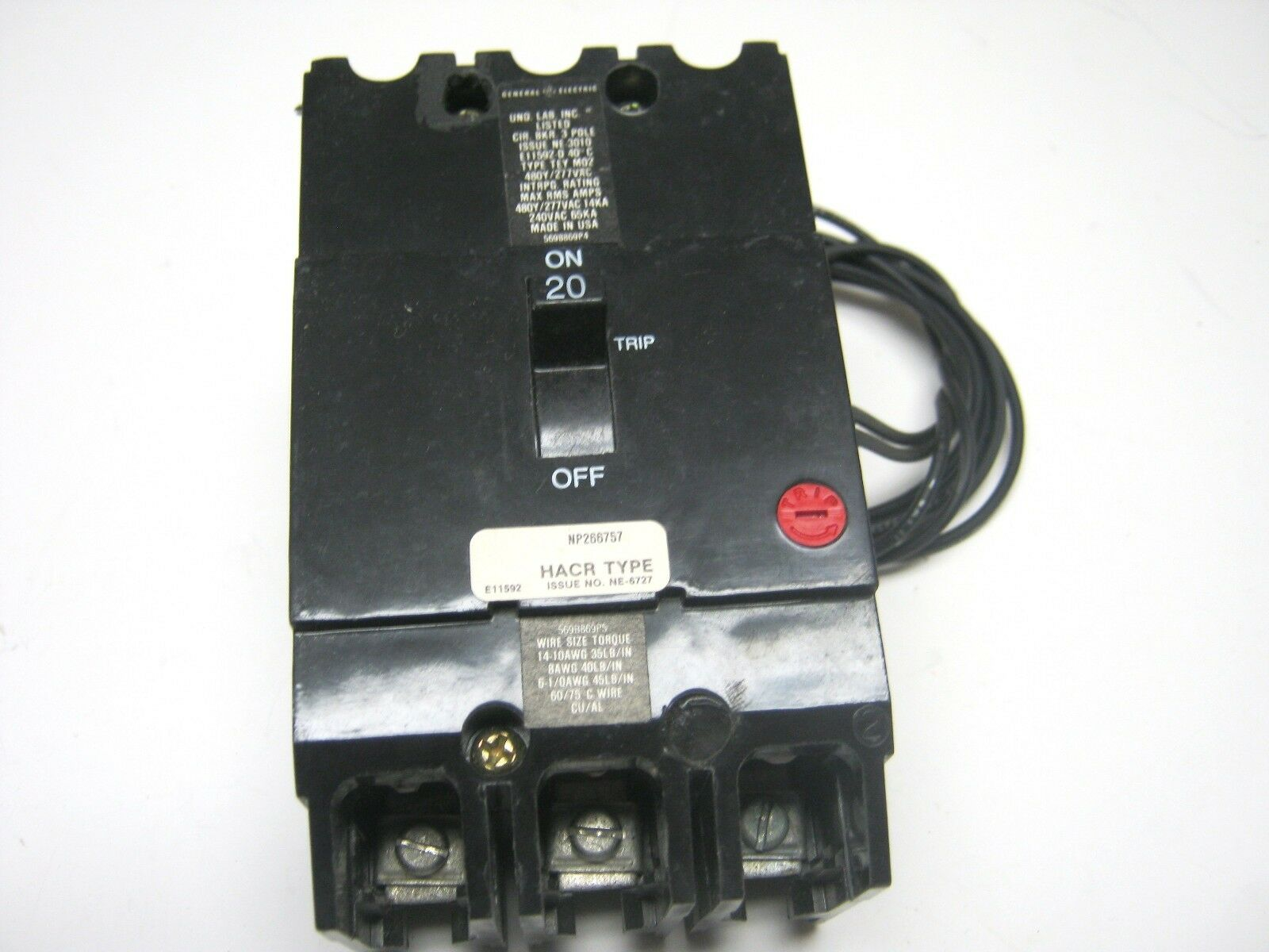 GE TEY320ST12 3/p 20 Amp Shunt Trip Circuit Breaker | eBay