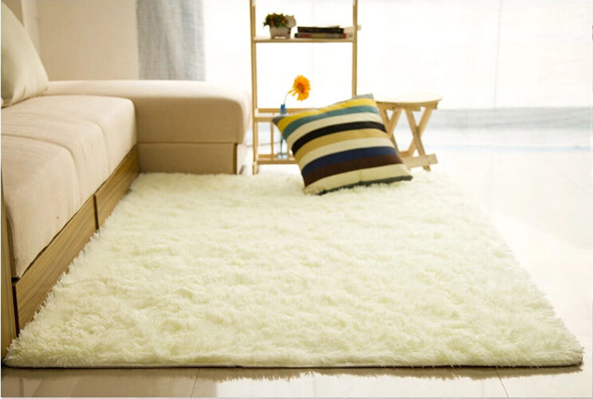 white carpet flooring. fluffy rugs anti-skid shaggy area rug home room bedroom carpet floor mat creamy white | ebay flooring